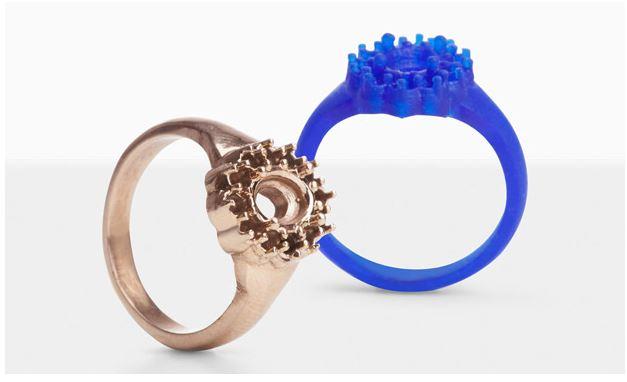 Mẫu nhẫn đơn giản chưa gắn đá tạo thành từ phương pháp in 3D