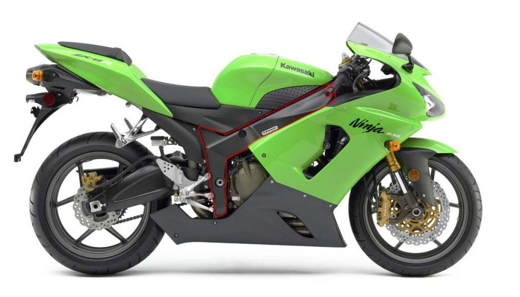 Kawasaki Ninja ZX-6R, với chi tiết khung sườn ( bao đỏ) cần tái tạo lại 3D.  ảnh Total Motorcycle.com