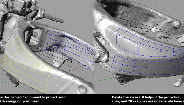 """Project"" command to project your curves onto the 3D Scan"